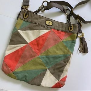 FOSSIL Patchwork Crossbody Handle Purse Bag Tote